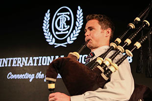 Guest playing bagpipes at Crafternoon with Legends at Shed 10