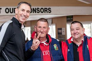 Ian Jones with Lions fans
