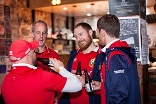 Lions fans enjoying craft beer
