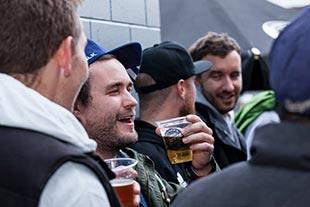 James Bennett and David Hutchens enjoying a beer